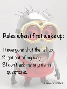 Rules when I first wake up - http://jokideo.com/rules-when-i-first-wake-up/