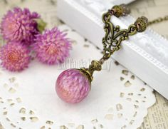 Pink Globe Amaranth Flower Resin Necklace   by LaTaniaJewelry