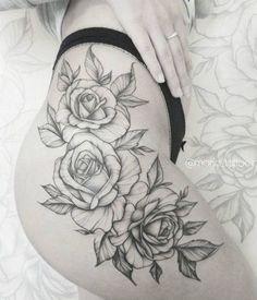 Rose Tattoo On Hip, Flower Hip Tattoos, Hip Thigh Tattoos, Hip Tattoos Women, Trendy Tattoos, Sexy Tattoos, Body Art Tattoos, Small Tattoos, Sleeve Tattoos