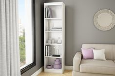 Axess 5-Shelf Narrow Bookcase Pure White - Furniture & Mattresses - Home Office Furniture - Bookcases & Shelving