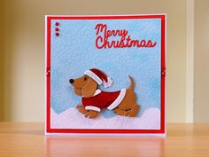 Christmas Card, Handmade - Marianne dachshund die. For more of my cards please visit CraftyCardStudio on Etsy.com.