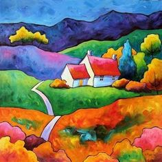 Gillian Mowbray - The Bothy. love the bright colors Landscape Quilts, Landscape Art, Silk Painting, Painting & Drawing, Art Populaire, Naive Art, Art And Illustration, Whimsical Art, Painting Inspiration