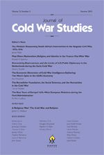 Journal of Cold War Studies [ISSN 1520-3972], vol 1 (1), 1999 to current issues now available online