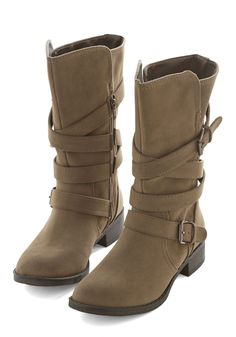 Strappy Strides Boot - Low, Tan, Solid, Buckles, Casual, Better, Strappy, Fall
