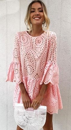 Women's Pink Lace Ruffle Summer Mini Dress is a fresh and fashionable dress for summer parties and celebrations. #fashion #womensfashion #womensdress #summerfashion #summerdress #dresses #pinkdress