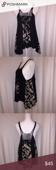 Free People Tank Black/tie dye crochet and fringe tank. Excellent  condition. Free