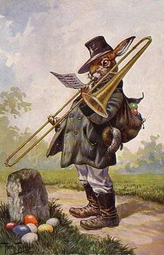 Easter Bunny Rabbit Playing Trombone from Thiele Vintage Postcard Magnet | eBay