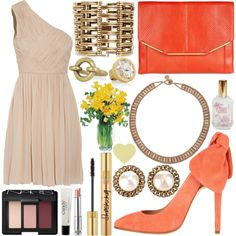 Lucille, created by oceanchildcallsme on Polyvore- really classy outfit. love the tangerine color with the beige