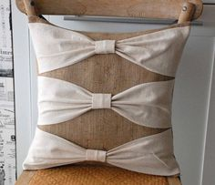 burlap and linen pillow