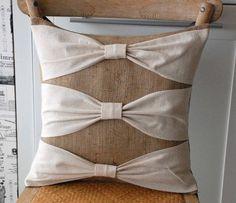 burlap and linen pillow