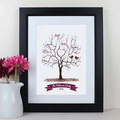 personalised family fingerprint tree print by intwine | notonthehighstreet.com