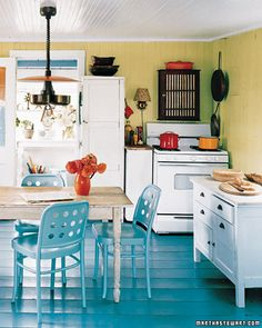 white kitchen BLUE floors.