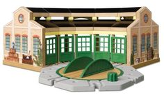 """Thomas & Friends Wooden Railway Set - Tidmouth Sheds - Learning Curve - Toys """"R"""" Us Thomas And Friends Trains, Train Table, Thing 1, Thomas The Tank, Round House, Babies R Us, Toys Online, Toys R Us, Toy Store"""
