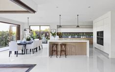 Open Plan Kitchen Living Room With Island Interior Design House Design, Open Plan Kitchen, Open Plan Kitchen Living Room, Home, Kitchen Design, Kitchen Innovation, Kitchen Dining Room, Kitchen Layout, Living Design