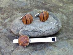 Cufflinks –  Cuff Links olive wood tie clip stainless steel   – a unique product by Alentejoazul on DaWanda
