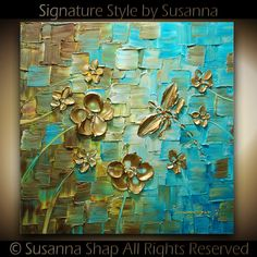 ORIGINAL Dragonfly Palette Knife Painting Abstract Contemporary Fine Art textured modern brown blue Art