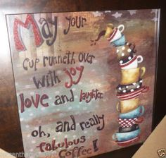 Bistro Java Cafe Coffee Theme Home Kitchen Hanging Wall Plaque Picture Decor Ebay