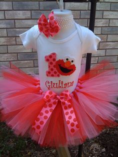 ELMO Birthday tutu outfit pink & red by robellaboutique on Etsy, $40.00