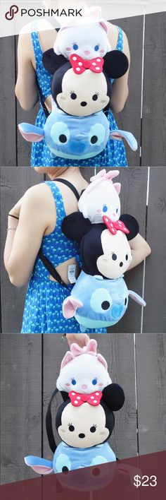"""Tsum tsum plush backpack Tsum tsum plush backpack featuring Marie, Minnie, and Stitch! Has adjustable straps and  a small zipper pocket in the back (for reference, it fits both my Kate Spade Stacy wallet and my Nexus 5X phone). Measures approx. 17"""" H x 9.5"""" W x 9.5"""" D. Brand new without tags. // Tags Disney Japan kawaii purse Disney Bags Backpacks"""