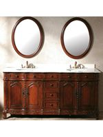 The Pesaro Double Bath Vanity is a great antique vanity with intricate details and a brown cherry finish. The cabinet is built with solid cherry wood construction that is kiln-dried in order to prevent warping and cracking. The creme marble top and back splash are finished and sealed to prevent stains and water marks.
