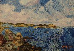 Puentylistyczna parafraza pejzażu morskiego  EUGENE BOUDIN            Akryl na płótnie 70/50cm