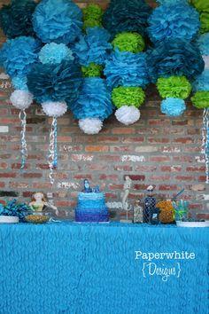 Ariel Color Collection-5 Pom Poms- Mermaid party decoration