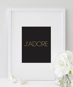 J'adore French I love Typography  Love Print by designsbymariainc