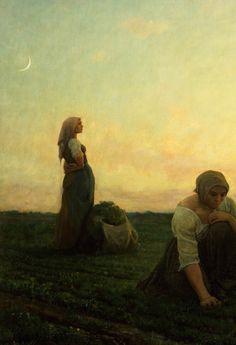 """jaded-mandarin: """" Jules Breton. Detail from The Weeders, 19th Century. """""""