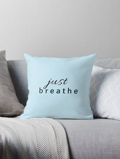 just breathe – yoga quote / Black White Typography, Motivational Saying, Inspirational Text • Also buy this artwork on home decor, apparel, stickers, and more.