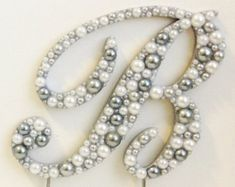Elegant Font Pearls and Rhinestones Monogram by LeandraNDesigns