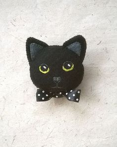 Black Kitty Cat Felt Brooch Hand Embroidered Pin by Whimsylandia - What more to say other than we just LOVE cool stuff! #feltedcat