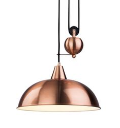 Modern Rise and Fall Ceiling Light in Brushed Copper Finish