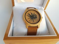 Skyline watch design engraved in a bamboo watch. FSC certified bamboo and a leather strap- perfect combination for  a timeless gift!