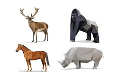 Low poly animals-Wild animals pack 2 by volkanaydemir on @creativemarket