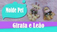 Molde pet_girafa e leão de biscuit