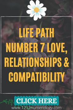 Relationships with you, Number 7, depend very much on how much you 'vibe' with your partner. With your sharp, perceptive and witty mind, you can be the most interesting, intriguing and entertaining company on the planet! But you could also be wildly misunderstood and retreat into your shell if you're not appreciated for the unique individual you are. Life Path Number 7, Relationship Compatibility, Number Patterns, Numerology, The Secret, Paths, Relationships, Numbers, Shell