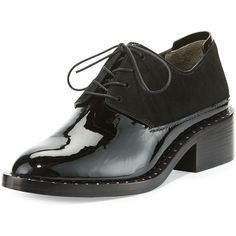 3.1 Phillip Lim Alexa Studded Patent Oxford ($595) ❤ liked on Polyvore featuring shoes, oxfords, black, shoes loafers, black patent shoes, oxford shoes, lace up oxfords, patent leather shoes and black patent leather oxfords