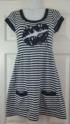 Betsey Johnson Kiss Lips Black White Striped Glitter Sequined Sweater Dress M…