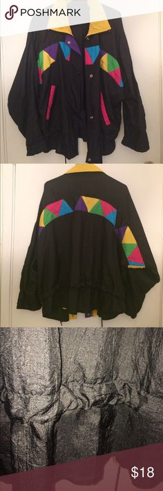 90s inspired colorblocked jacket Gently used 90s inspired colored blocked lightweight jacket with drawstring waist Jackets & Coats