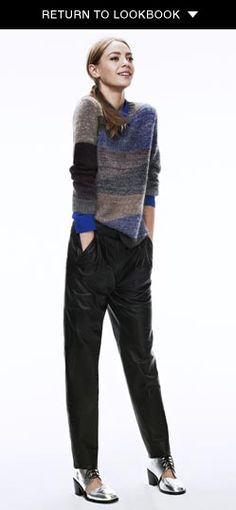 Theory blue button front, Cut25 by Yigal Azroeul multicolor sweater, Nicholas leather pants, and Shakuhachi oxfords, all from Shopbop - leather and metallic look practically cozy in this ensemble