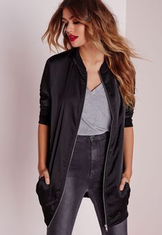 Missguided - Satin Longline Bomber Black