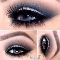 Shimmering midnight blue and rose smokey eyes