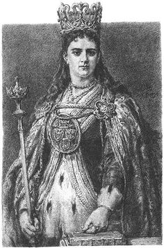Jadwiga by Jan Matejko - Jadwiga (Polish pronunciation: [jadˈvʲiga]; 1373/4 – 17 July 1399) was monarch of Poland from 1384 to her death. Her official title was 'king' rather than 'queen', reflecting that she was a sovereign in her own right and not merely a royal consort. She was a member of the Capetian House of Anjou, the daughter of King Louis I of Hungary and Elizabeth of Bosnia.