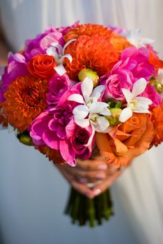 bright and colorful wedding bouquet - real wedding photo by Seattle photographer Stephanie Cristalli