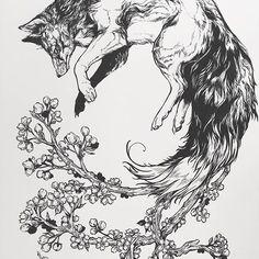 Still no name 🤔 #whitebird #whitebirdart #art #ink #inking #calligraphypen #nib #nibpen #sakura #fox #foxspirit #nature #fantasy #cherry #cherryblossom #cherrytree #dream #design #animals #inkart #inkfeature #tattoodesign @inkreview @inkfeature