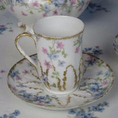 We are pleased to offer this GDA Limoges - Colorful Flowers with Gold - Chocolate Pot, 2 Cups & Saucers, Large Handled Tray for sale. This is a great looking set. Very pretty. The chocolate pot measures 5 inches wide and 12 inches high. The cups measure 2 inches wide and 3 inches high. The saucers measure 4¾ inches wide. The large handled tray measures 15 by 16 inches wide. The pieces are marked RS Prussia. | eBay!