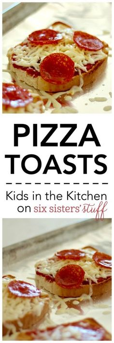 Pizza Toasts from SixSistersStuff.com | Make this super easy, favorite snack or lunch with your kids help in the kitchen