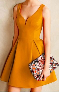 so much to love about this dress: rich goldenrod color, deep heart-shaped neckline, classy pleats, and flirty flared skirt. did i miss anything? oh, and it would be so versatile! could wear this to work, a nice event, a girls day with mani/pedis, or a night on the town :)