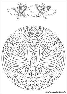 Detailed Abstract Butterfly Mandala Coloring Page