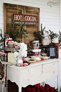 Hot chocolate bar for winter wedding or winter fiesta / more ideas on with . Bar à chocolat chaud pour mariage d'hiver ou fiesta hiver / + d'idées sur with… Hot chocolate bar for winter wedding or winter fiesta / more ideas on withalovelikethat. Rustic Christmas, Winter Christmas, Christmas Porch, Outdoor Christmas, Vintage Christmas Wedding, Christmas Ideas, Woodland Christmas, Christmas Wedding Favours, Xmas Party Ideas